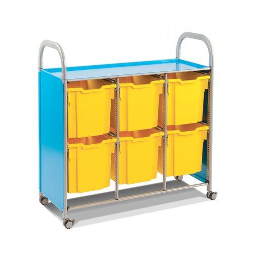 Callero Trolley Triplo com Tabuleiros Jumbo Azul